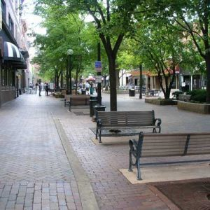 The Pedestrian Mall in downtown Iowa City.