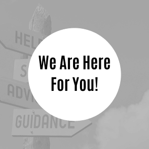 "Square image that reads ""we are here for you!"""