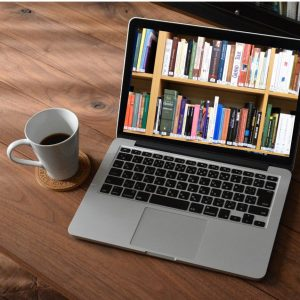 Laptop with Book Shelves