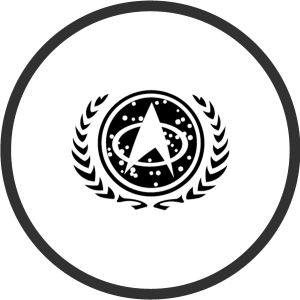 The symbol of the United Federation of Planets with the Star Fleet symbol at its center.