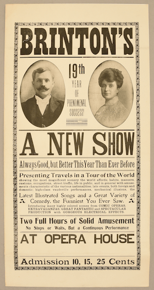 """Brinton's 19th Year of Phenomenal Success!"" Poster with photos of Frank and Indiain andtext describing their new show"