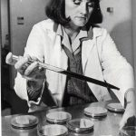 Woman doing laboratory research, 1990