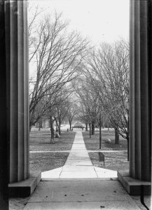Old Capitol central walk looking east from Old Capitol, ca 1915-1920.