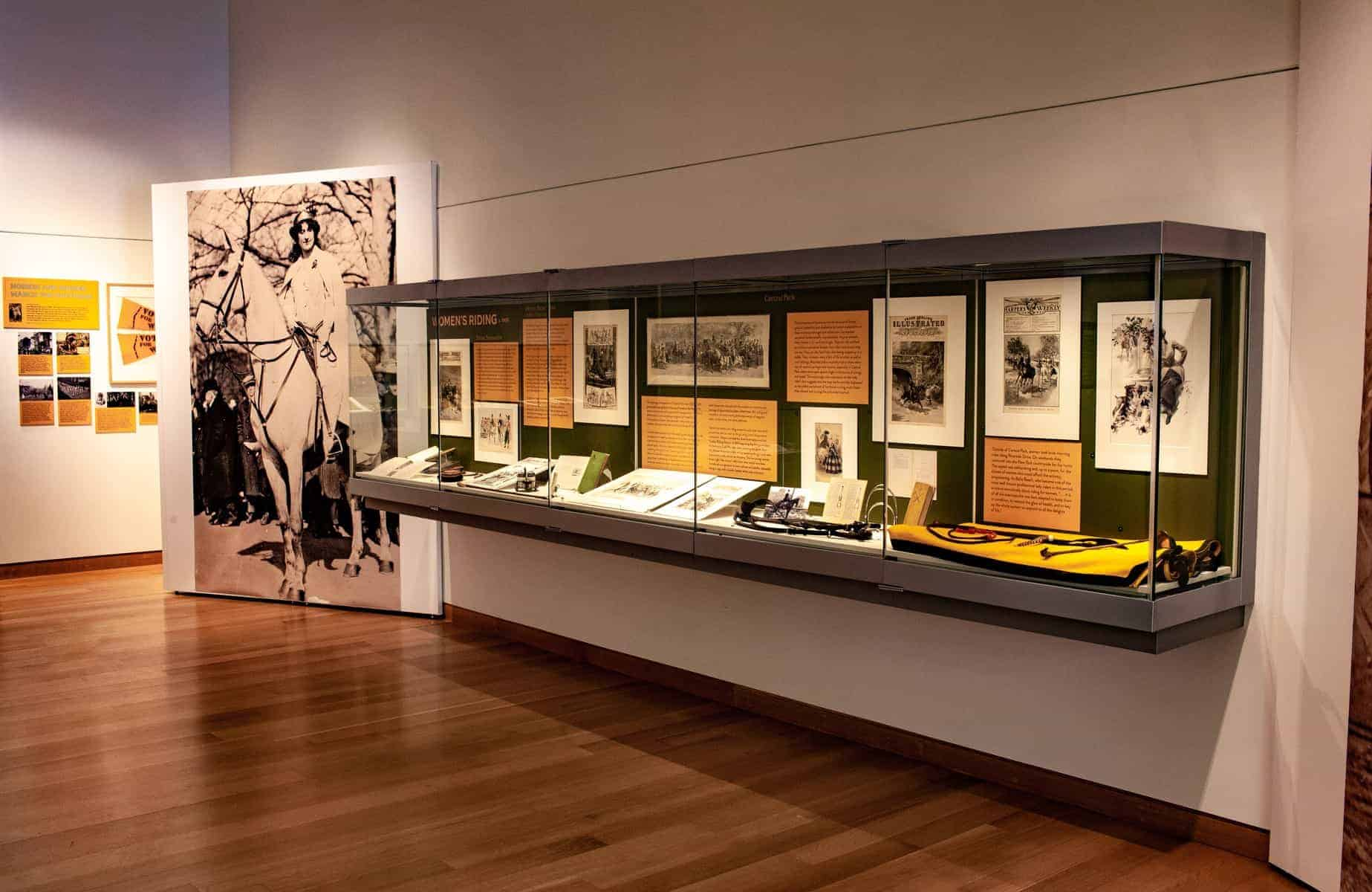 A wider view of part of the Main Library Gallery shows an 8 foot tall poster of a woman in white on horseback, and gives a broad view of additional gallery cases containing artifacts.