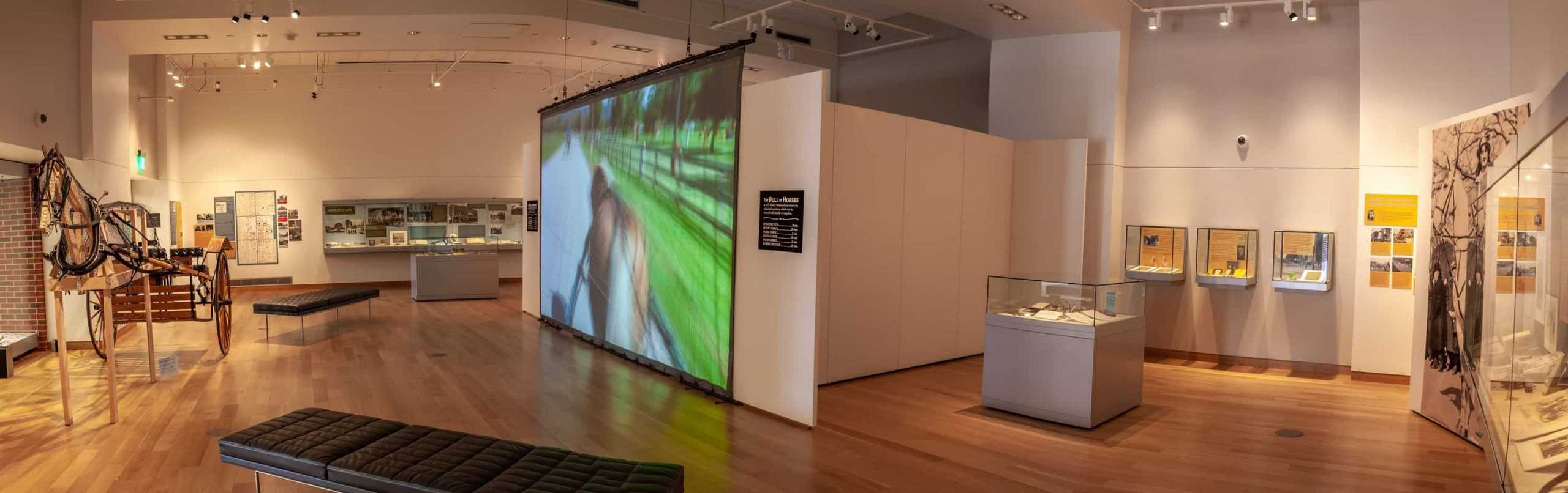 The photo is a panoramic view of the Main Library Gallery. It shows the locations of all cases, which are at the perimeter of the room and some placed in the middle of the gallery. A very large 16x9 screen is suspended from the ceiling and shows a film.