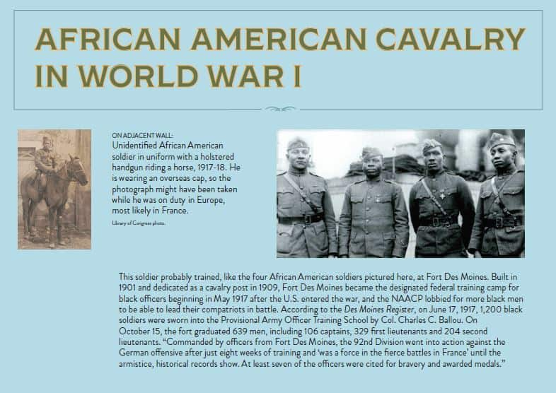 A panel shows a portrait of four African American military officers, one African American soldier on horseback, and describes the African American cavalry during World War I. Panel text is available below it.