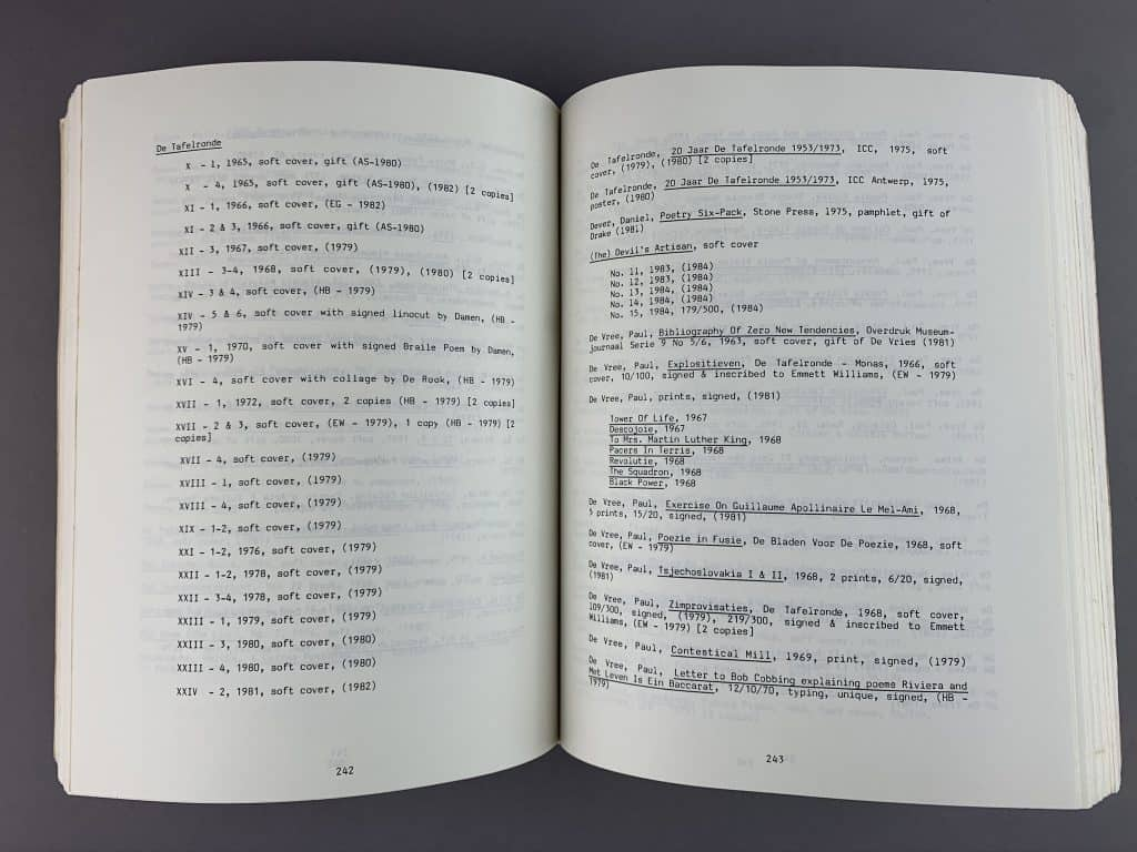 This image shows the catalog propped open. It shows a list of items on the two open pages. There are no images, just text.