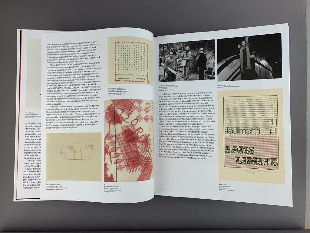 The book is open to a random page featuring several art pieces created by using a typewriter. The colors are primarily red and black and the words are typed into various designs, such as a diamond or dandelion.