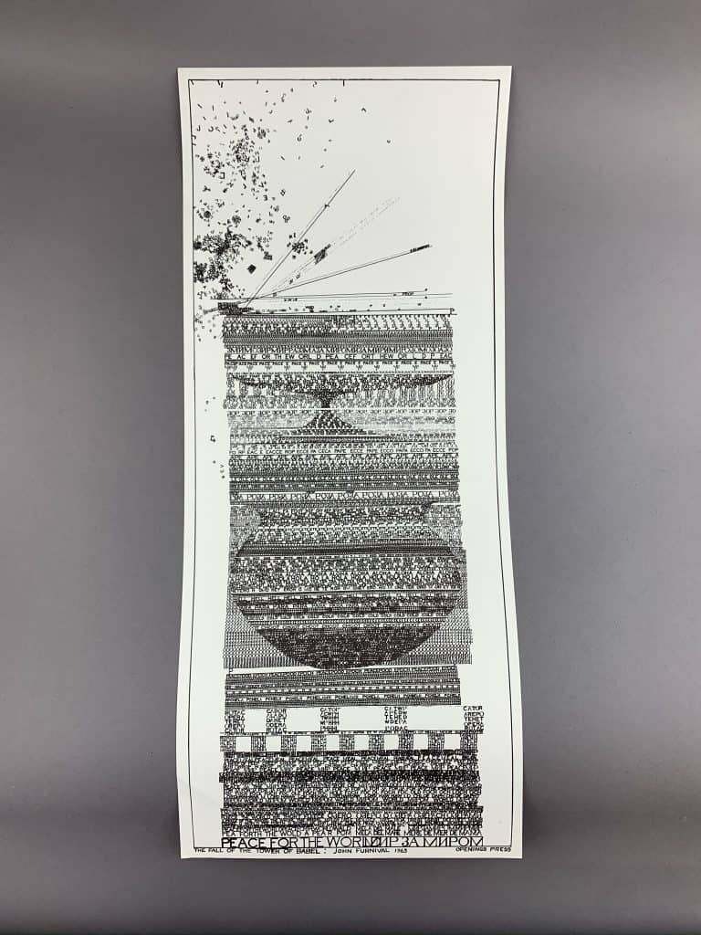 A long vertical rectangular piece, The Tower of Babel is comprised of black typewritten letters on white paper. The black letters of varying sizes create a tall representation of the tower of Babel.