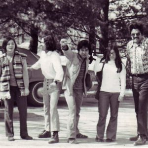 Black and white photo of five founding students from the early days of the Latino Native American Cultural Center in the 1970s.