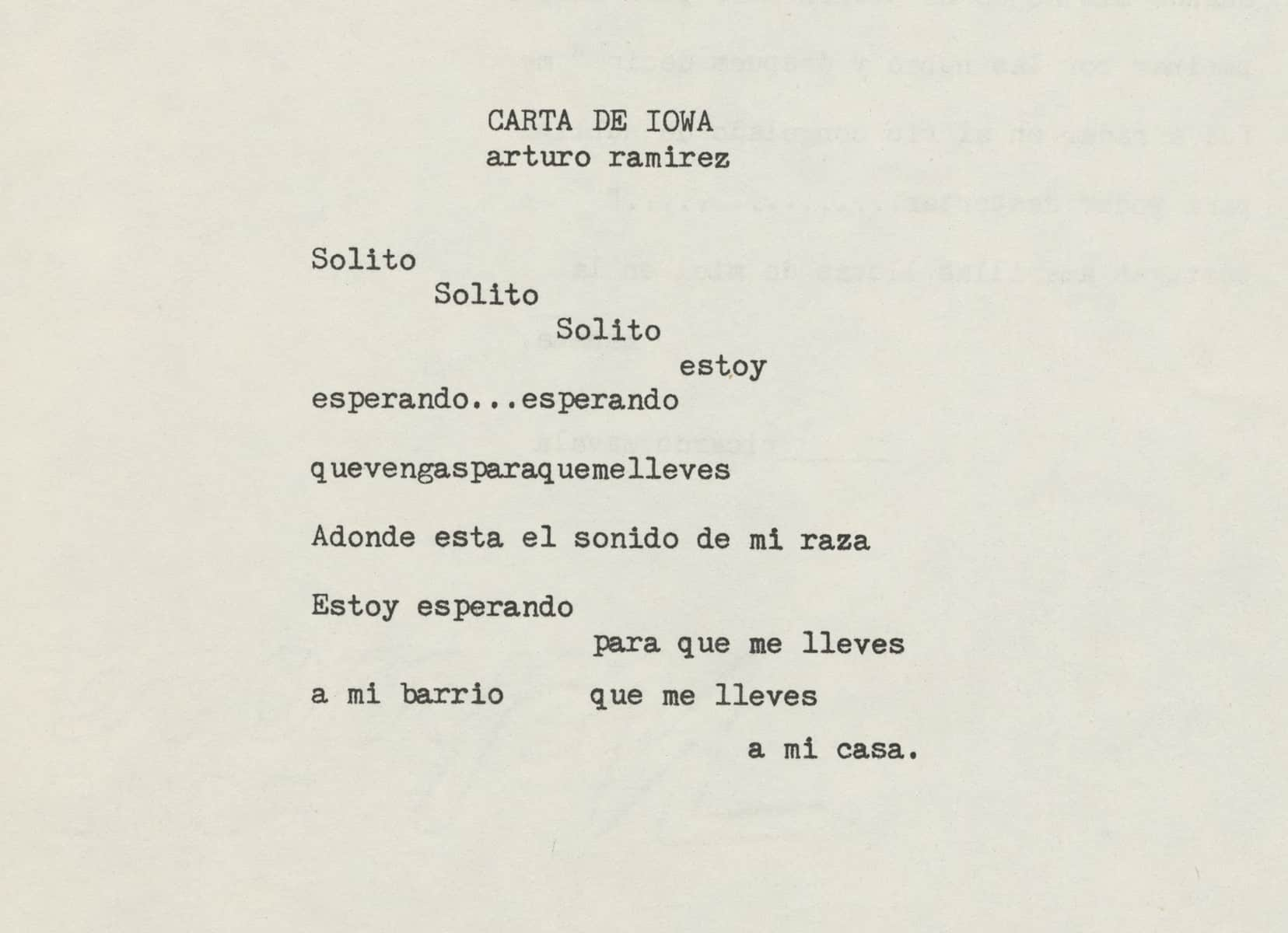 A typewritten poem by Arturo Ramirez. The words are in Spanish. The image itself has the words of the poem included in alt text format.