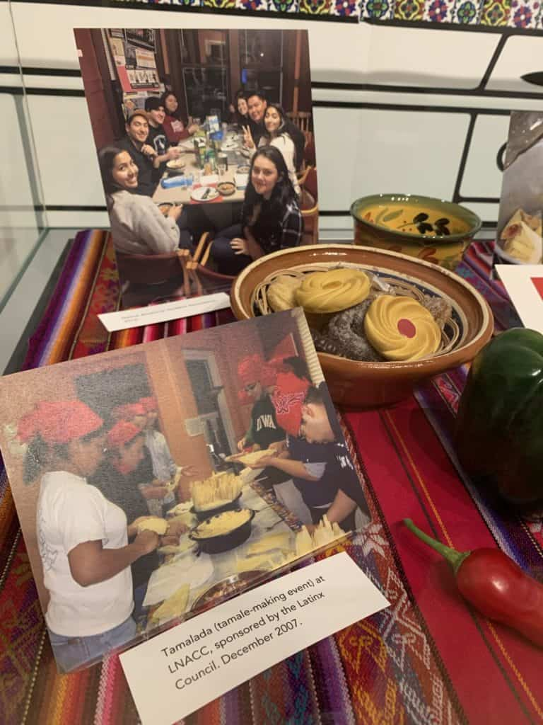A photo of students gathered around a table and a photo of students making tamales.