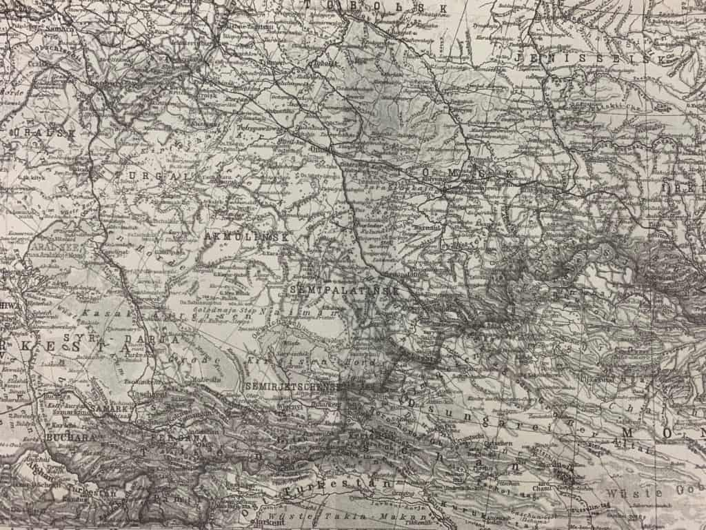 A closeup of the illustrated map, featuring the cities of Omsk, Semipalatinsk, and Tobolsk.