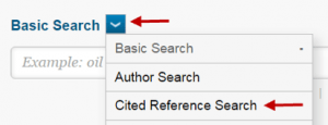 Image: Click on the arrow after Basic Search above the search box and then click on Cited Reference Search