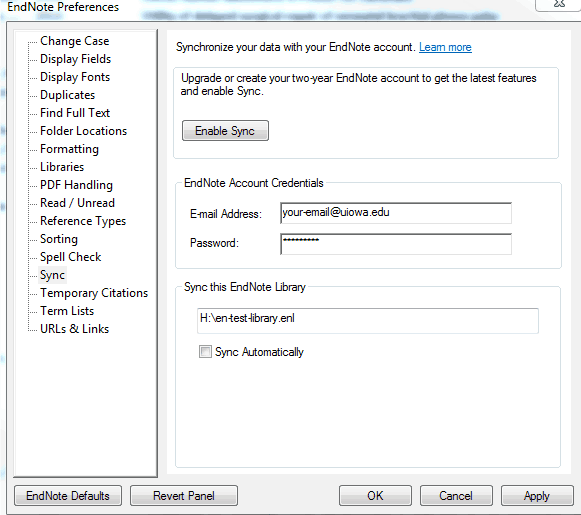 image of EndNote preferences interface