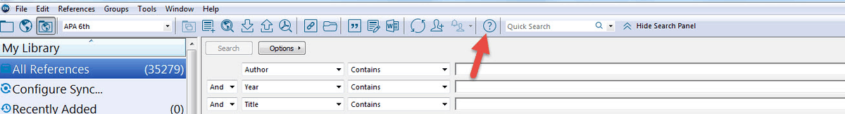 click on help menu in EndNote Desktop