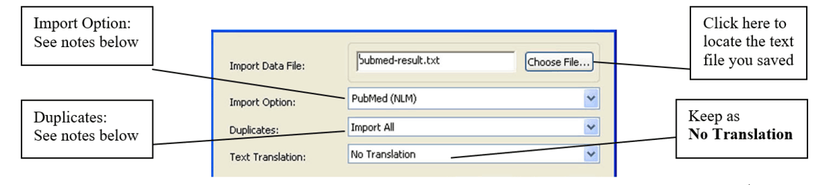 image of import options in EndNote