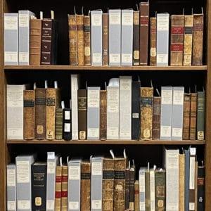 Shelves of books from the John Martin Rare Book Room