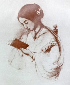 Printed image of Florence NIghtingale reading a book.