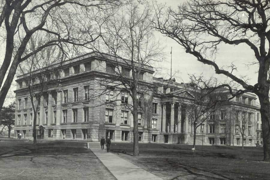 A view of the Natural Sciences Building, showing the east portico.  The library collections were housed on the first floor and the basement.