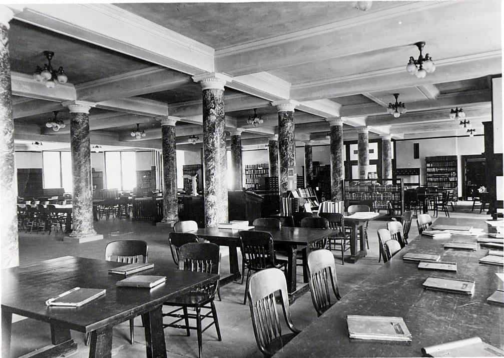 Another view of the interior of the reading room in the Natural Sciences Building (possibly taken after closing)