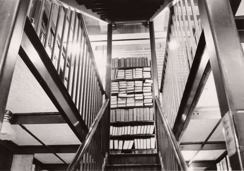 A view of the stairwell connecting the stacks, c. 1967.