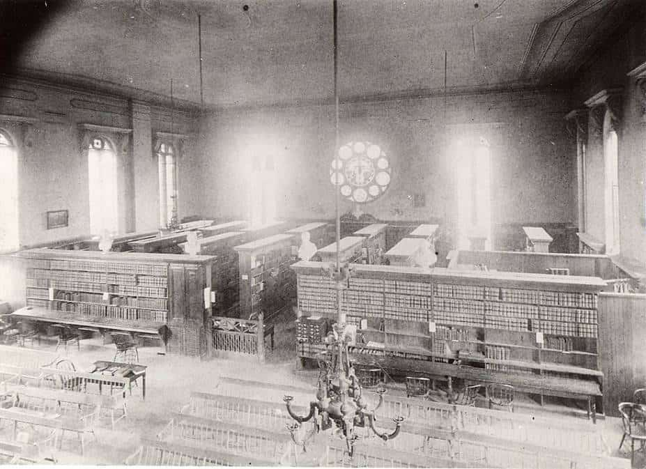 The restored interior of the library taken sometime after the 1897 fire.