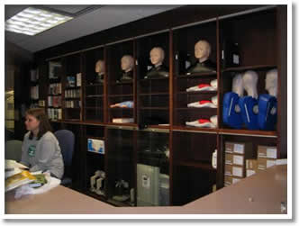 Hardin Library Simulation Center Check-Out Area