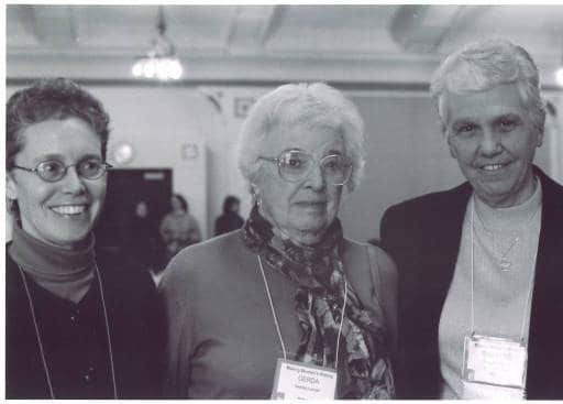 Karen Mason, Gerda Lerner, and Christine Grant, University of Iowa, Iowa City, Iowa, Nov. 15, 2002