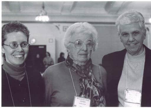 Karen Mason, Gerda Lerner, and Christine Grant, University of Iowa, Iowa City, Iowa, Nov. 15, 2002