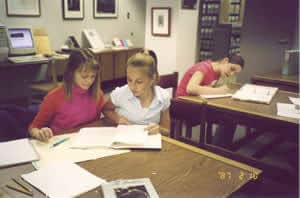 Junior high students using the archives for National History Day project