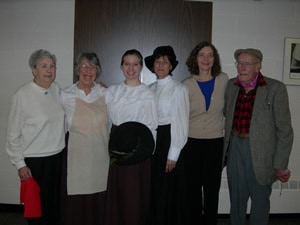 (l. to r.) Jean Burns, niece of Pearl McGill; Mary Vasey; Heidi Bibler; Janet Schlapkohl; Janet Weaver; and labor leader Dick Fallow, who suggested a play about Pearl McGill.