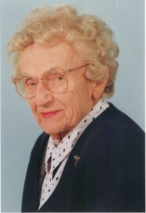 A reporter's photograph of Mildred Wirt Benson, 1993. Image taken by the Toledo Blade.