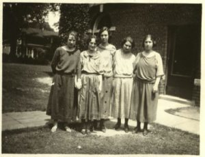 Mildred with college friends, 1920s