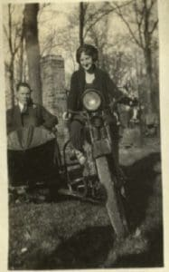 Mildred rides a motorcycle, 1920s