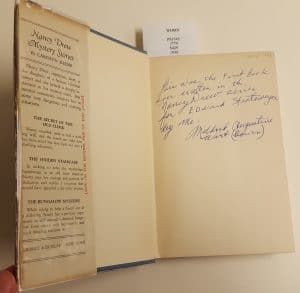 """The message on the cover page reads, """"This was the first book ever written in the Nancy Drew series for Edward Stratemeyer by me. Mildred Augustine Wirt (Benson)"""""""