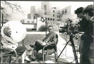 Mildred Wirt Benson interview with CBS-News reporter Richard Threlkeld, April 17, 1993. Image taken by John Kimmich.