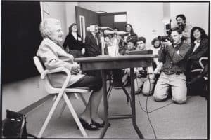 Mildred Wirt Benson speaks to the press at the Nancy Drew Conference, April 17, 1993. Image taken by John Kimmich.