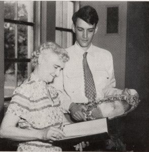 Grace Van Wormer receives recognition for her work of 42 years at the University of Iowa Main Library, 1954