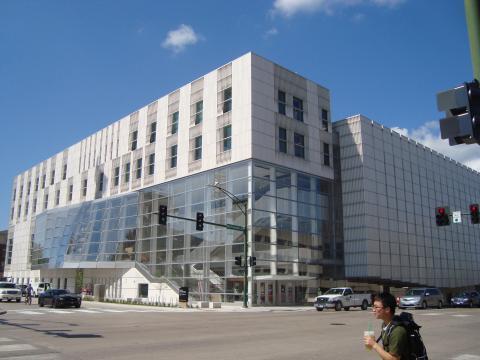 Exterior photo of Voxman Music Building