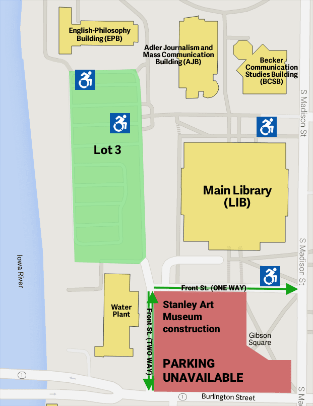 Map of Main Library parking options