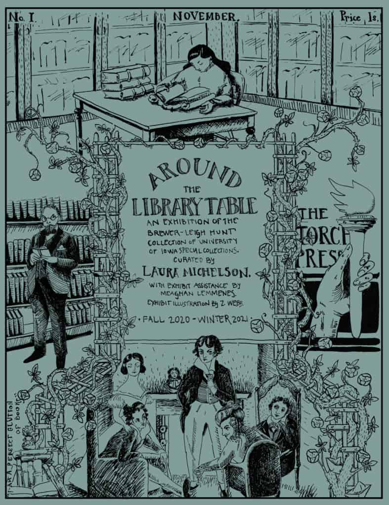 Current exhibition poster: Around the Library Table, An Exhibition of the Brewer-Leigh Hunt Collection