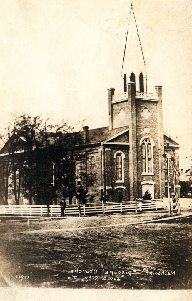Methodist and Episcopal Church, Iowa City, Iowa, ca. 1860. University of Iowa Libraries, Kent Photographs Collection