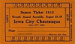 Iowa City Chautauqua Orange Ticket 1912