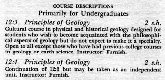 Sample course descriptions from the University General Catalog, 1955