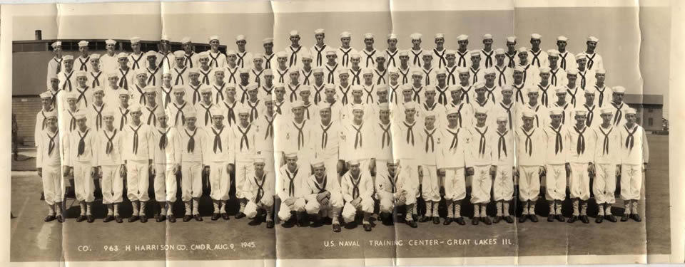 A group photograph taken August 9, 1945 at the U.S. Naval Training Center,  Great Lakes, Ill.