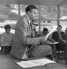 Paul Engle with Iowa Writers' Workshop students, 1950s