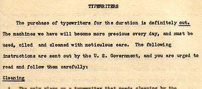 Wartime policy concerning purchase of new office equipment, 1943