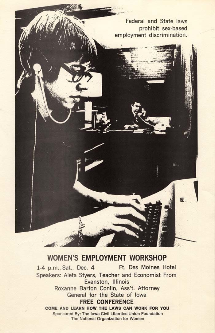 A poster from the Women's Employment Workshop.