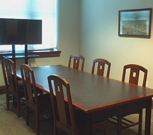 Group study space with a large screen
